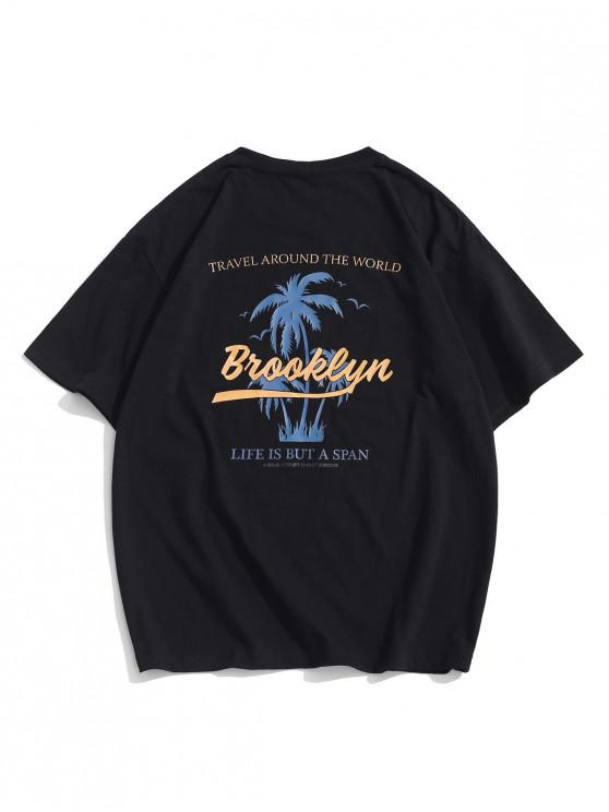 womens Palm Tree Letter Graphic Vacation Basic T-shirt - BLACK S