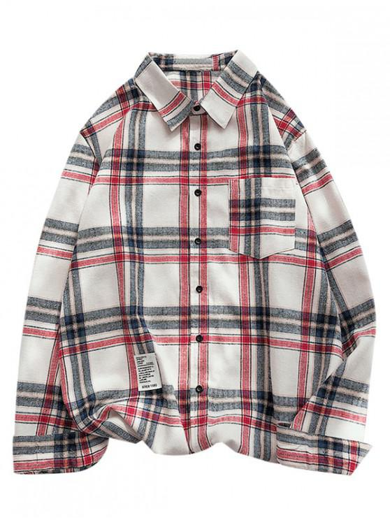 latest Plaid Letter Pattern Long Sleeves Shirt - CADETBLUE XL