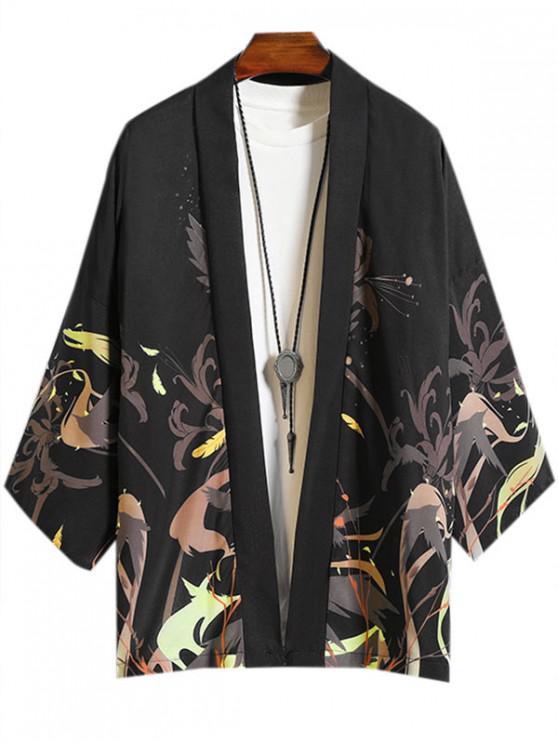Camisa Casual Estampado Flores Pájaro - Negro M
