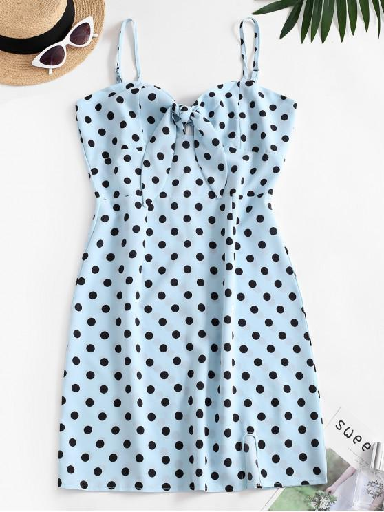 womens Polka Dot Cutout Knot Cami Slit Dress - BLUE M