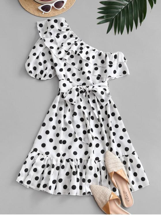 women One Shoulder Polka Dot Flounce Belted Dress - WHITE M