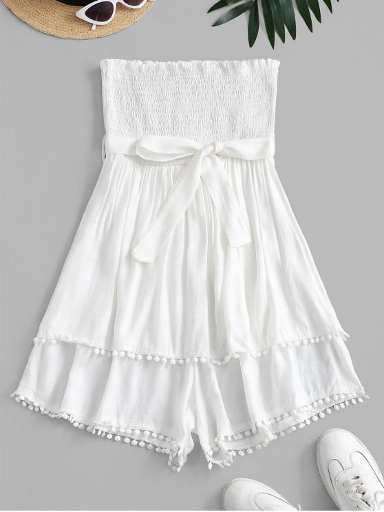 trendy Pompom Trim Smocked Layered Bandeau Romper - WHITE L