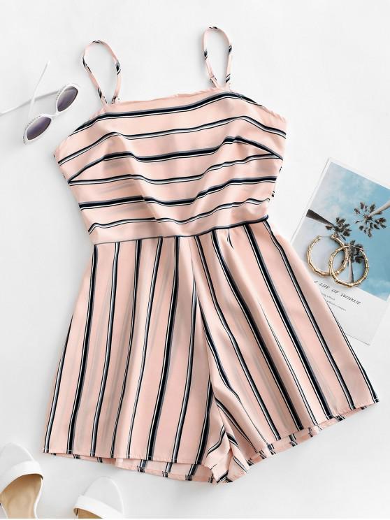 fancy Striped Cami Romper - ROSE M