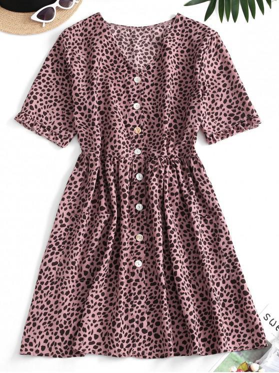 shop Leopard Button Up Pocket Smock Dress - PINK L