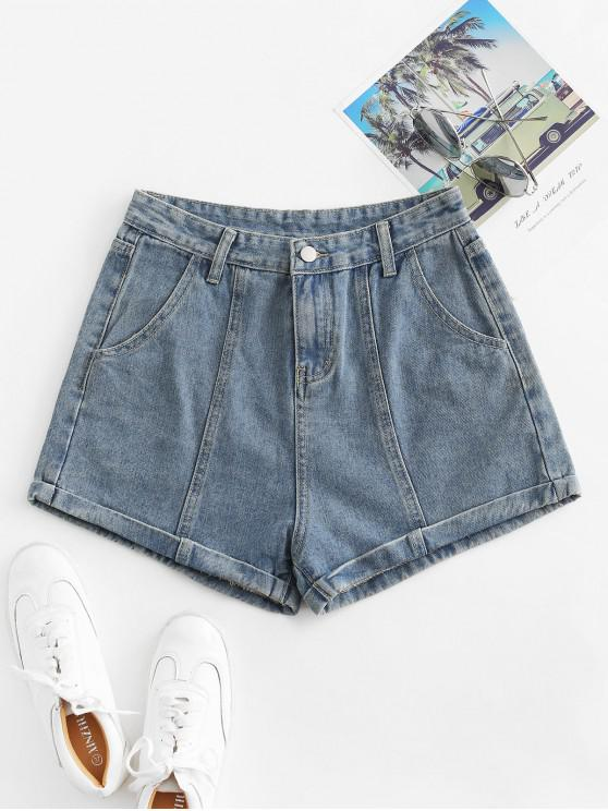 sale Cuffed High Waisted Jean Shorts - LIGHT BLUE L