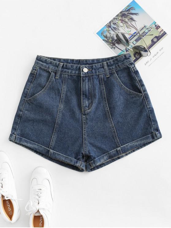 trendy Cuffed High Waisted Jean Shorts - DENIM DARK BLUE M