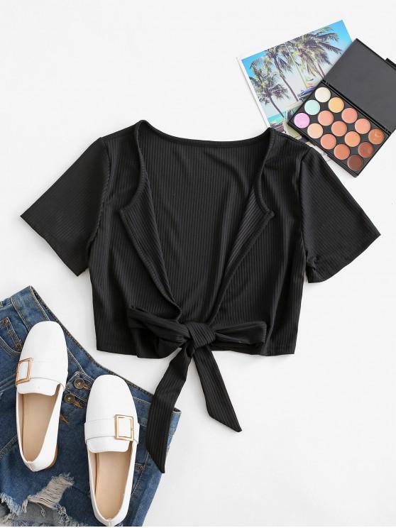 fancy Plunge Ribbed Tie Crop Top - BLACK S