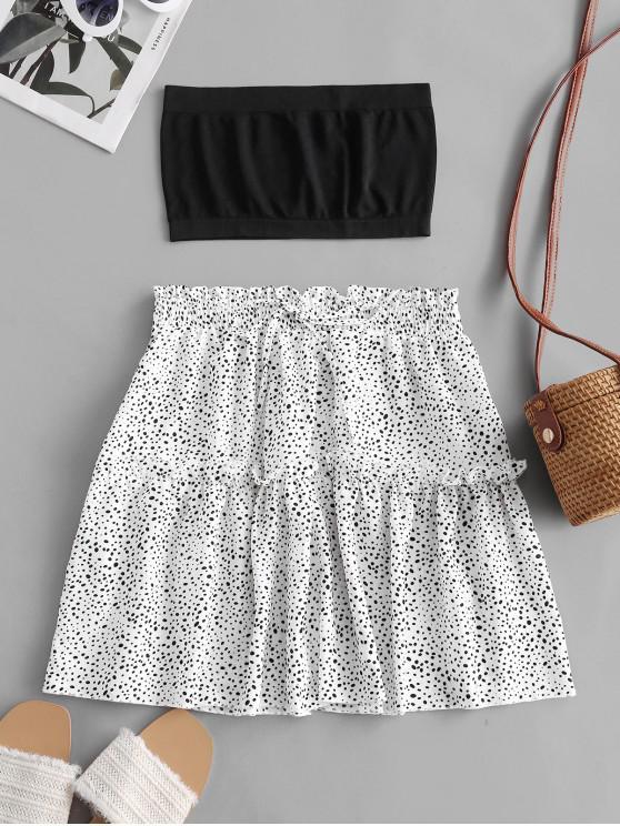 ladies Plain Bandeau Top And Dalmatian Dot Skirt Set - WHITE S
