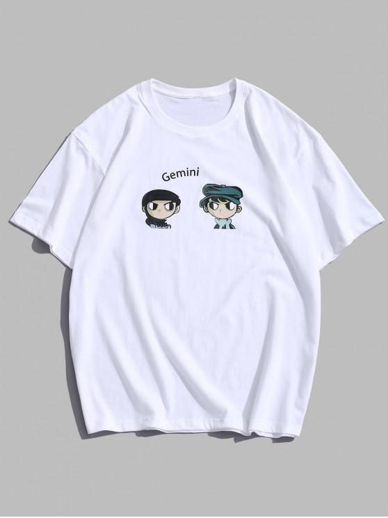 T-Shirt Stampata con Maniche Corte - Bianca L
