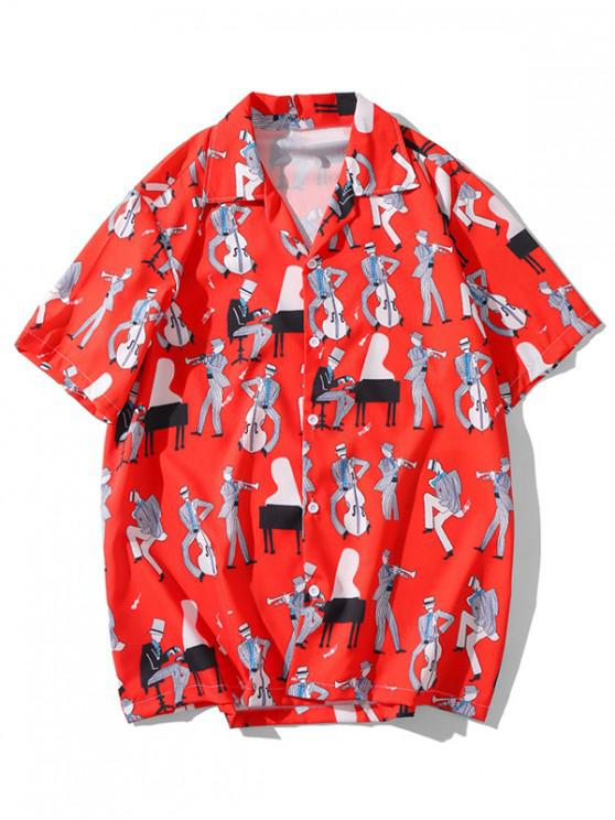women Music Instrument Character Printed Shirt - RED M