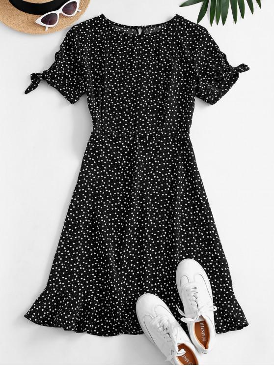 Ditsy Hearts Flounce Tie Sleeve Keyhole Dress - أسود S