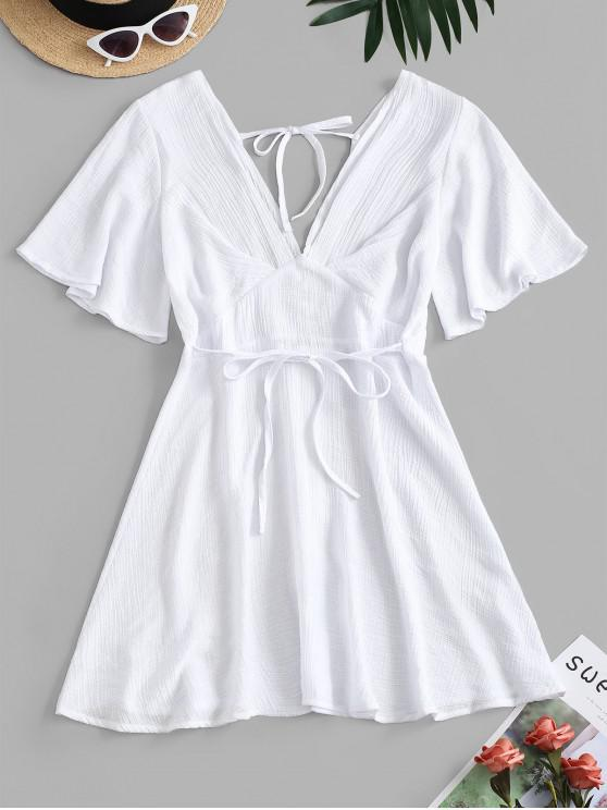 latest Plunging Open Back Tie Textured Dress - WHITE S