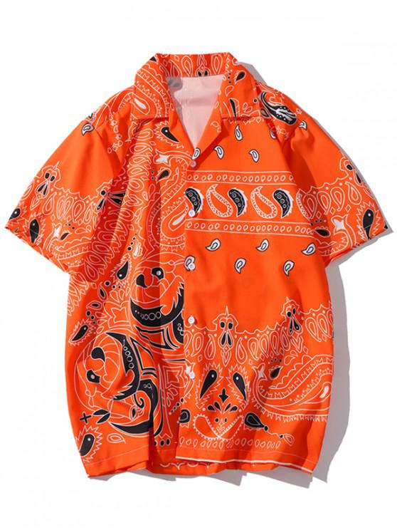 fancy Pumpkin Paisley Print Short Sleeves Shirt - ORANGE 2XL