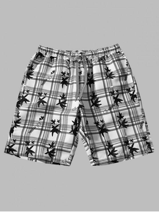 Plaid Leaf Print Board Shorts - متعددة-B XS