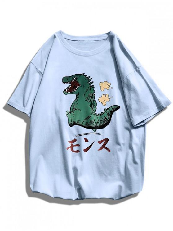 women's Cartoon Dinosaur Pattern Basic T Shirt - BLUE L