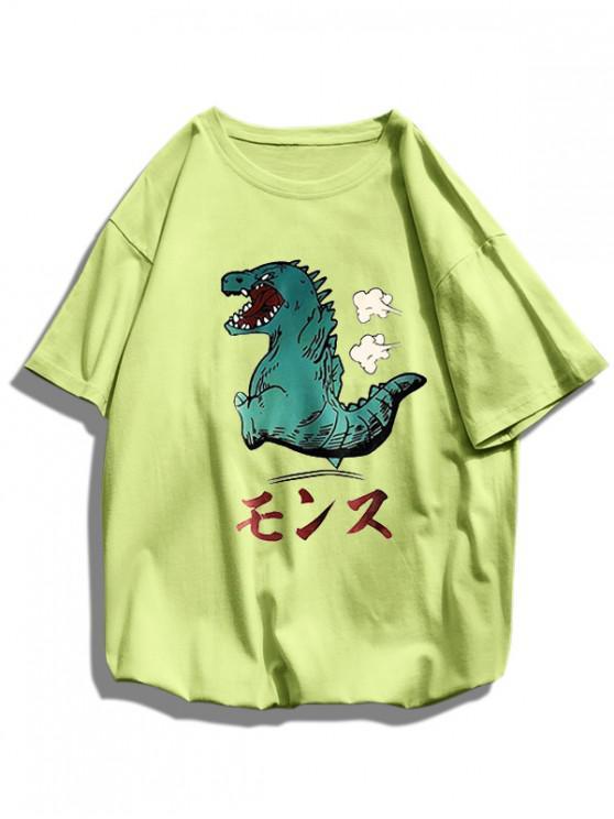 online Cartoon Dinosaur Pattern Basic T Shirt - GREEN L