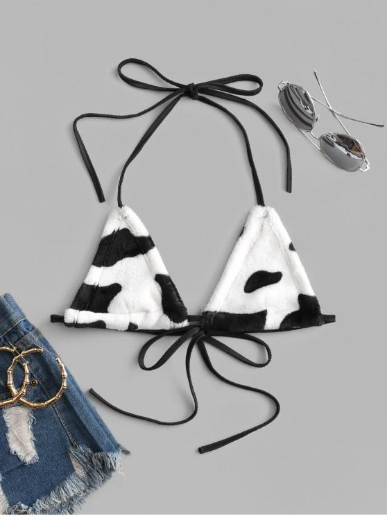fashion Halter Cow Print Fleece Bralette - WHITE ONE SIZE