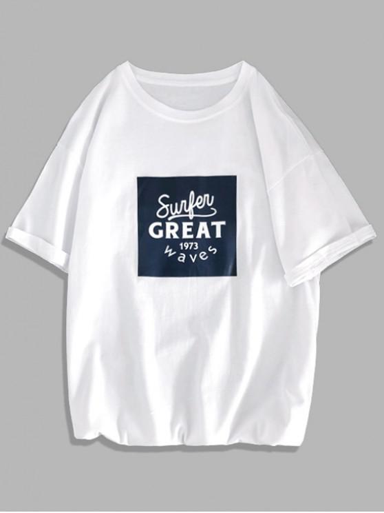 unique Great Letter Graphic Print Basic T Shirt - WHITE L