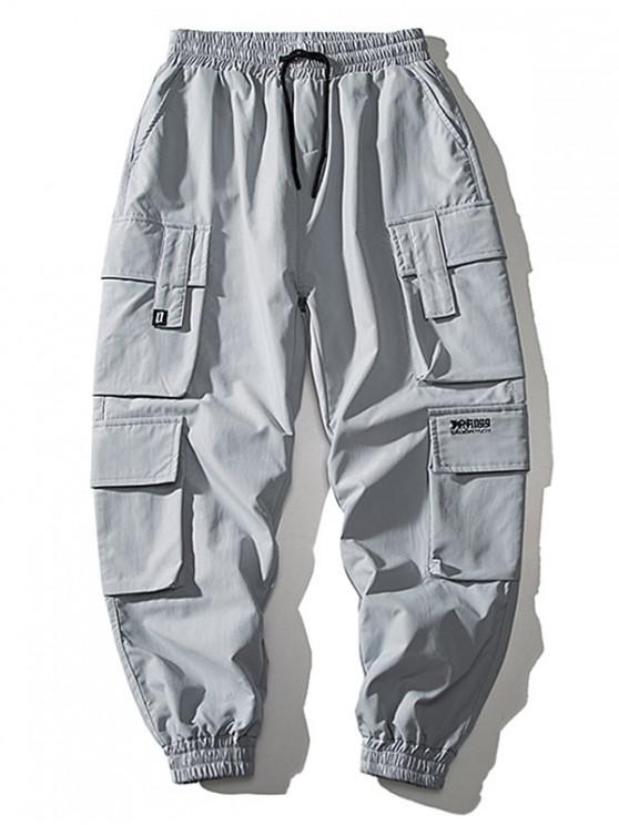fashion Multi Flap Pockets Drawstring Cargo Jogger Pants - BLUE GRAY L