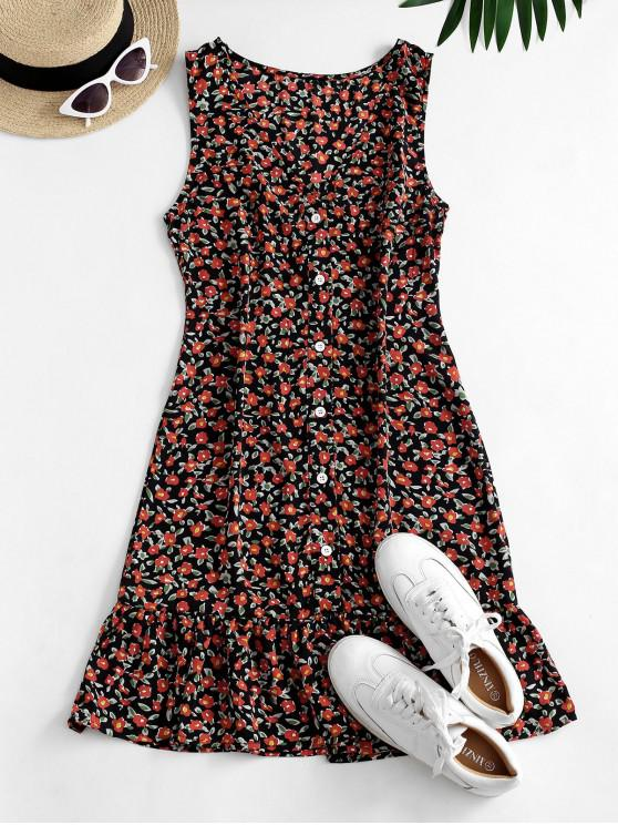 outfit Ditsy Floral Plunging Flounce Button Front Dress - BLACK S