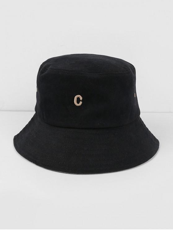 latest Letter C Cotton Bucket Hat - BLACK