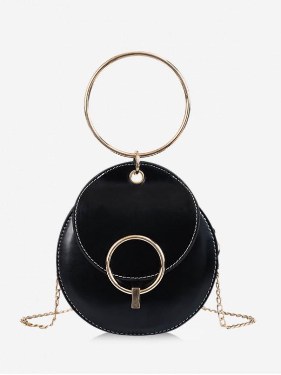 shop Round Chain Crossbody Bag - BLACK