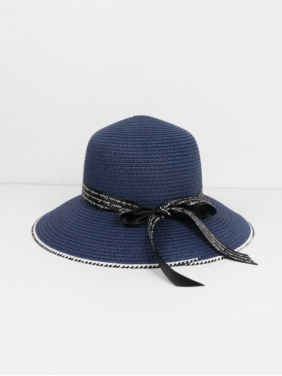 chic Beach Letter Ribbon Straw Hat - CADETBLUE