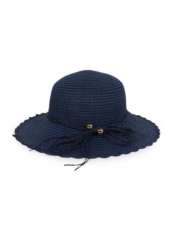 unique Bowknot Scalloped Straw Sun Hat - CADETBLUE