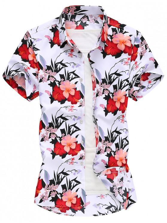 trendy Flower Print Vacation Shirt - WHITE XL