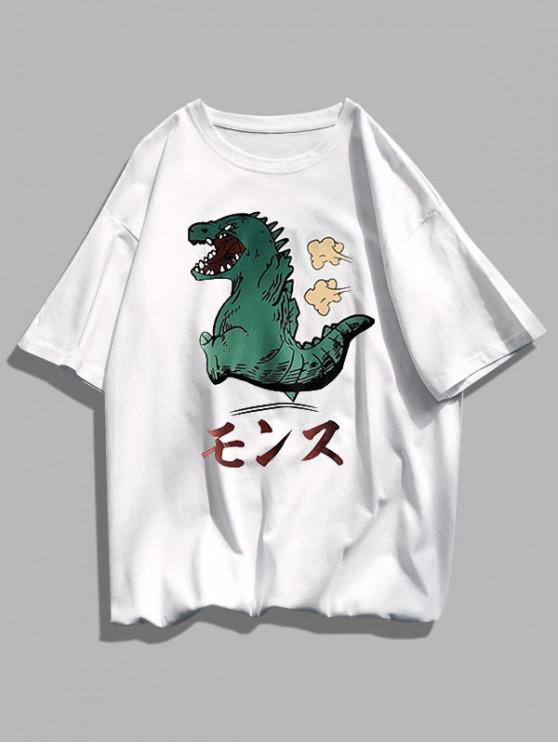 Cartoon Dinosaur Pattern Basic T Shirt - أبيض XS
