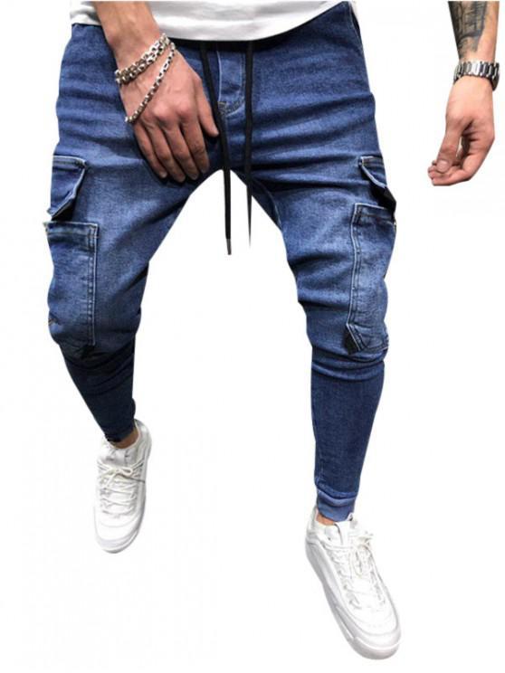 Jeans Jogger de Color Sólido con Bolsillo - Azul Oscuro de Denim 2XL