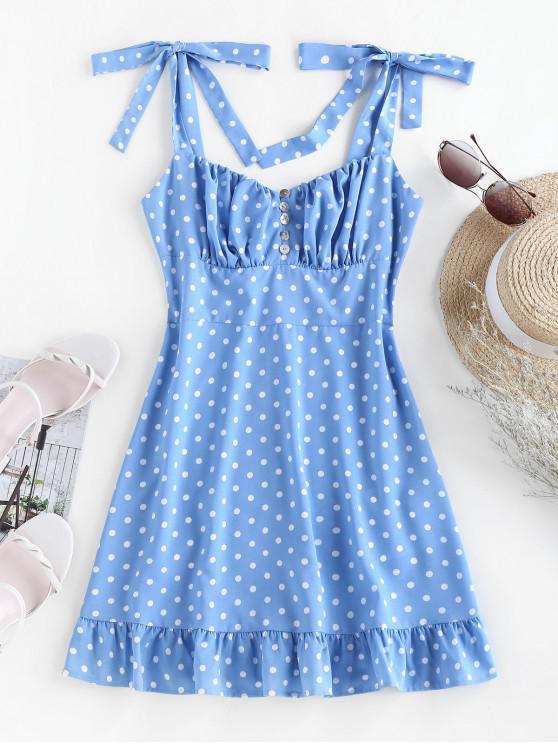 ZAFUL Polka Dot Flounce Mini Dress - أزرق فاتح S