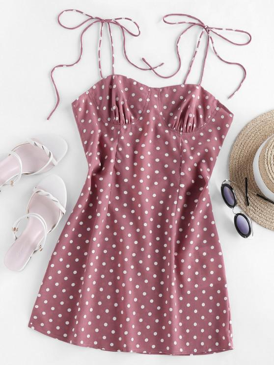outfits ZAFUL Polka Dot Tie Shoulder Cupped Dress - ROSE L