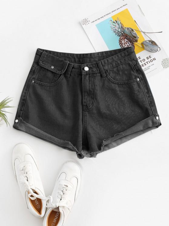 best Cuff Off Cuffed Jean Shorts - BLACK M