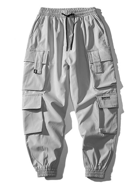 Multi Flap Pockets Drawstring Cargo Jogger Pants - رمادي فاتح S