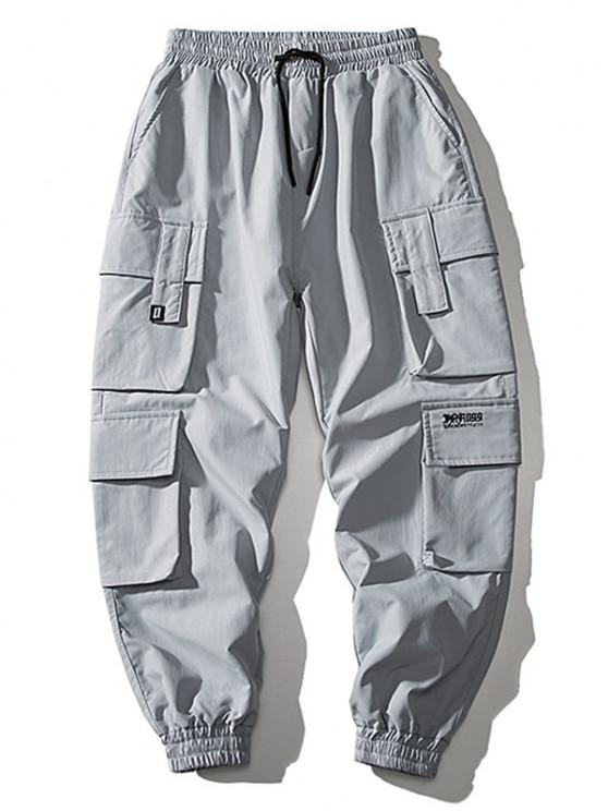 shops Multi Flap Pockets Drawstring Cargo Jogger Pants - BLUE GRAY XS