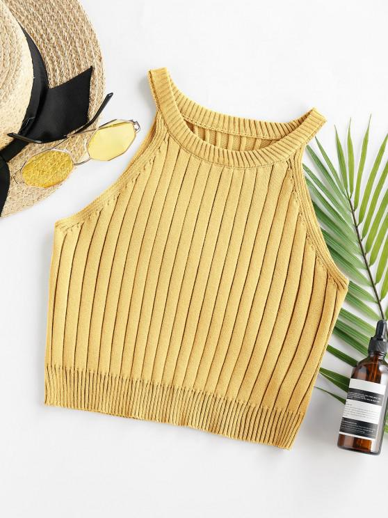 unique ZAFUL Cutaway Ribbed Crop Tank Top - GOLDENROD S