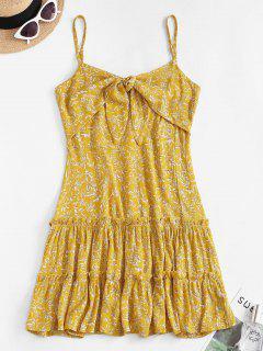 Vestido Volantes De Hoja Anudado - Amarillo M