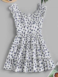 Ditsy Floral Flounce Smocked Back Milkmaid Dress - White S