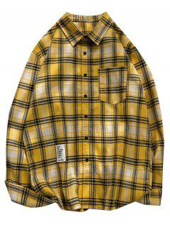 Chemise à Carreaux Imprimée à Manches Longues Avec Poche - Jaune Xl