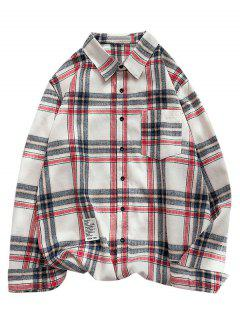 Plaid Letter Pattern Long Sleeves Shirt - Cadetblue L