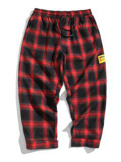 Drawstring Plaid Cropped Pants - Red 2xl