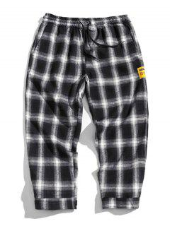 Drawstring Plaid Cropped Pants - White 3xl