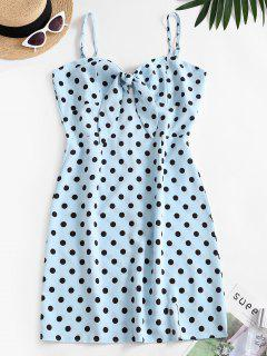 Polka Dot Cutout Knot Cami Slit Dress - Blue S
