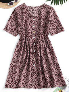 Vestido Midi Abotonado Piel Leopardo - Rosado M