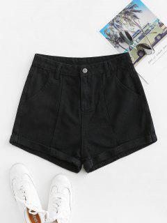 Cuffed High Waisted Jean Shorts - Black M