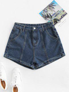 Cuffed High Waisted Jean Shorts - Denim Dark Blue Xl