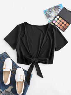Plunge Ribbed Tie Crop Top - Black Xl