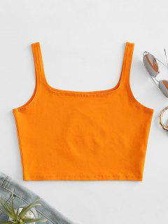 Square Collar Crop Tank Top - Pumpkin Orange S