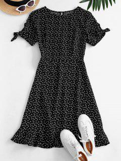 Ditsy Hearts Flounce Tie Sleeve Keyhole Dress - Black Xl